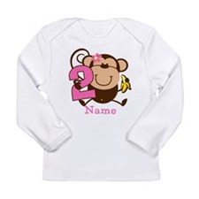 Personalized Monkey Girl 2nd Birthday Long Sleeve