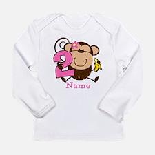 Personalized Monkey Girl 2nd Birthday Long Sleeve