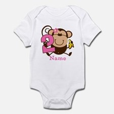 Personalized Monkey Girl 2nd Birthday Infant Bodys