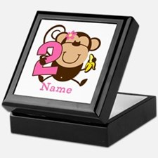 Personalized Monkey Girl 2nd Birthday Keepsake Box