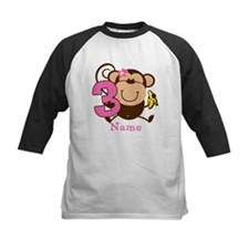 Personalized Monkey Girl 3rd Birthday Tee