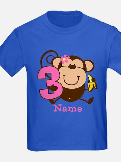 Personalized Monkey Girl 3rd Birthday T