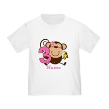 Personalized Monkey Girl 3rd Birthday T