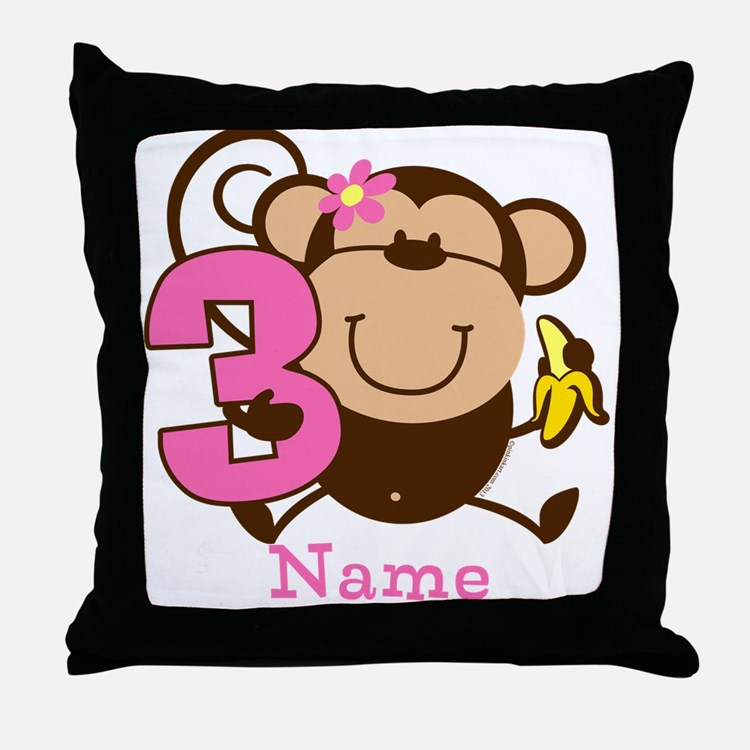 Personalized Monkey Girl 3rd Birthday Throw Pillow