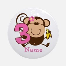 Personalized Monkey Girl 3rd Birthday Ornament (Ro