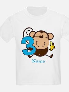 Personalized Monkey Boy 3rd Birthday T-Shirt
