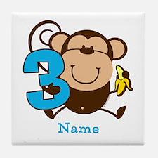 Personalized Monkey Boy 3rd Birthday Tile Coaster