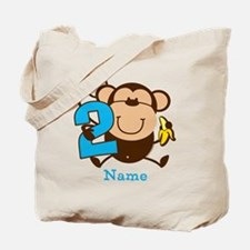 Personalized Monkey Boy 2nd Birthday Tote Bag