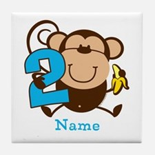 Personalized Monkey Boy 2nd Birthday Tile Coaster