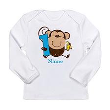 Personalized Monkey Boy 1st Birthday Long Sleeve I