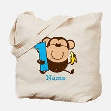 Personalized Monkey Boy 1st Birthday Tote Bag