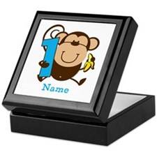 Personalized Monkey Boy 1st Birthday Keepsake Box