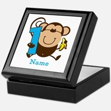 Personalized Monkey Boy 1st Birthday Keepsake Box