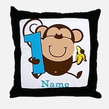 Personalized Monkey Boy 1st Birthday Throw Pillow