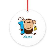 Personalized Monkey Boy 1st Birthday Ornament (Rou