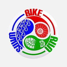 """Triathlon TRI Swim Bike Run Yang Words 3.5"""" Button"""