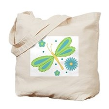 Dragonfly & Flowers Tote Bag