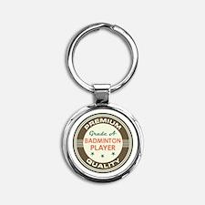 Badminton Player Vintage Round Keychain