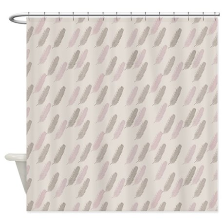 pink and brown feathers shower curtain by zenchic. Black Bedroom Furniture Sets. Home Design Ideas
