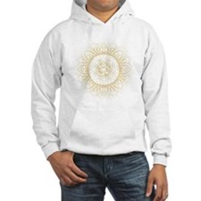 Yoga Mandala Henna Ornate Ohm Crown Black Hoodie