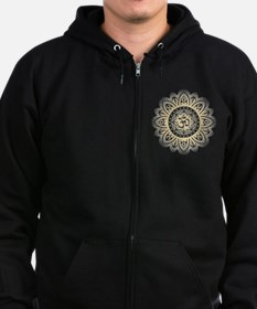 Yoga Mandala Henna Ornate Ohm Crown Black Zip Hoodie
