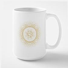 Yoga Mandala Henna Ornate Ohm Crown Black Mugs