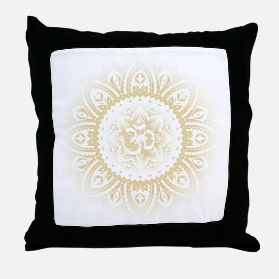 Yoga Mandala Henna Ornate Ohm Crown Black Throw Pi