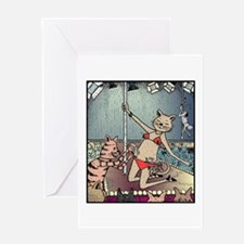Cat Pole Dancers Greeting Cards