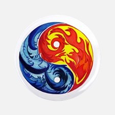"""Yin-Yang Fire and Ice 3.5"""" Button"""