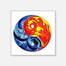 "Yin-Yang Fire and Ice Square Sticker 3"" x 3"""