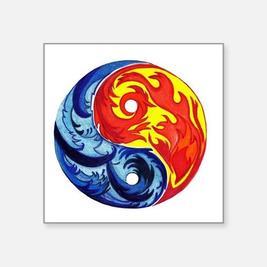 """Yin-Yang Fire and Ice Square Sticker 3"""" x 3"""""""
