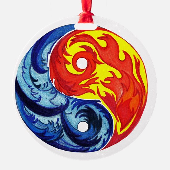 Yin-Yang Fire and Ice Ornament