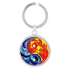 Yin-Yang Fire and Ice Round Keychain