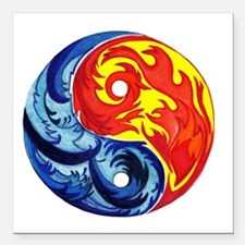 """Yin-Yang Fire and Ice Square Car Magnet 3"""" x 3"""""""