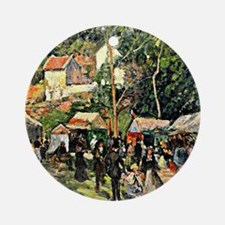 Pissarro - Festival at the Hermitag Round Ornament