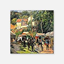 """Pissarro - Festival at the  Square Sticker 3"""" x 3"""""""