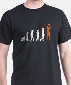 Basketball Jump Shot Evolution (Orange) T-Shirt