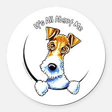 Wire Fox Terrier IAAM Round Car Magnet