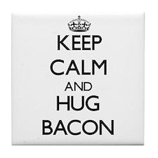 Keep calm and Hug Bacon Tile Coaster
