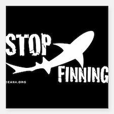 Stop Shark Finning Awareness Logo Square Car Magne