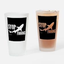 Stop Shark Finning Awareness Logo Drinking Glass