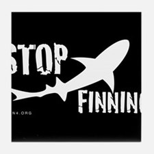 Stop Shark Finning Awareness Logo Tile Coaster