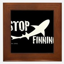 Stop Shark Finning Awareness Logo Framed Tile