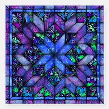 """Blue Quilt Square Car Magnet 3"""" x 3"""""""