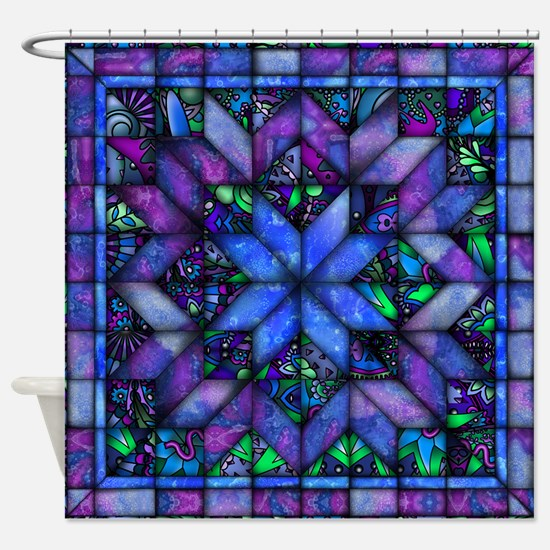 Blue Quilt Shower Curtain