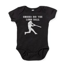 Chicks Dig The Long Ball Baby Bodysuit