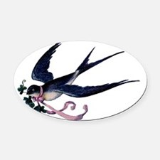 Barn Swallow Vintage With Clover Oval Car Magnet