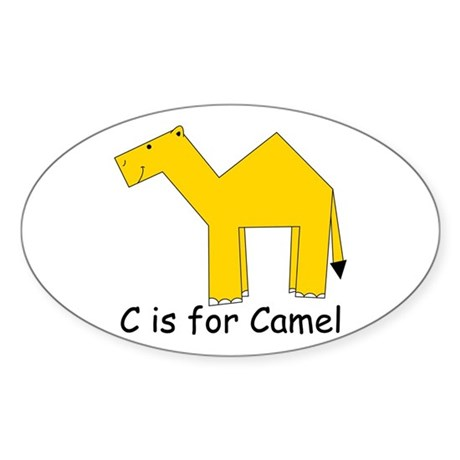 C is for Camel Oval Sticker