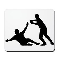 Baseball Double Play Silhouette Mousepad