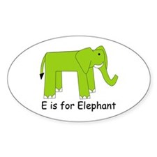 E is for Elephant Oval Decal